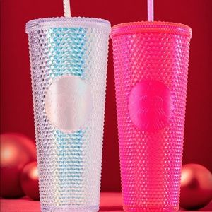 Hot pink or silver Starbucks 2019 holiday cup